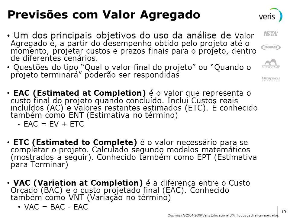 Copyright © 2004-2008 Veris Educacional S/A. Todos os direitos reservados. Previsões com Valor Agregado Um dos principais objetivos do uso da análise