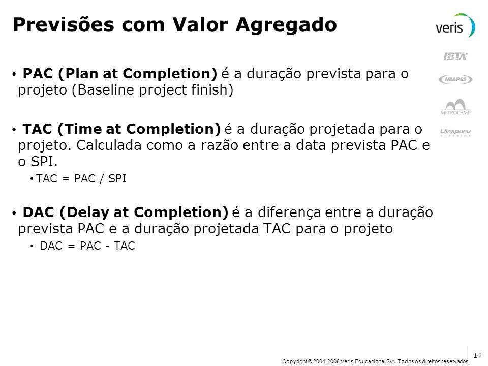 Copyright © 2004-2008 Veris Educacional S/A. Todos os direitos reservados. Previsões com Valor Agregado PAC (Plan at Completion) é a duração prevista