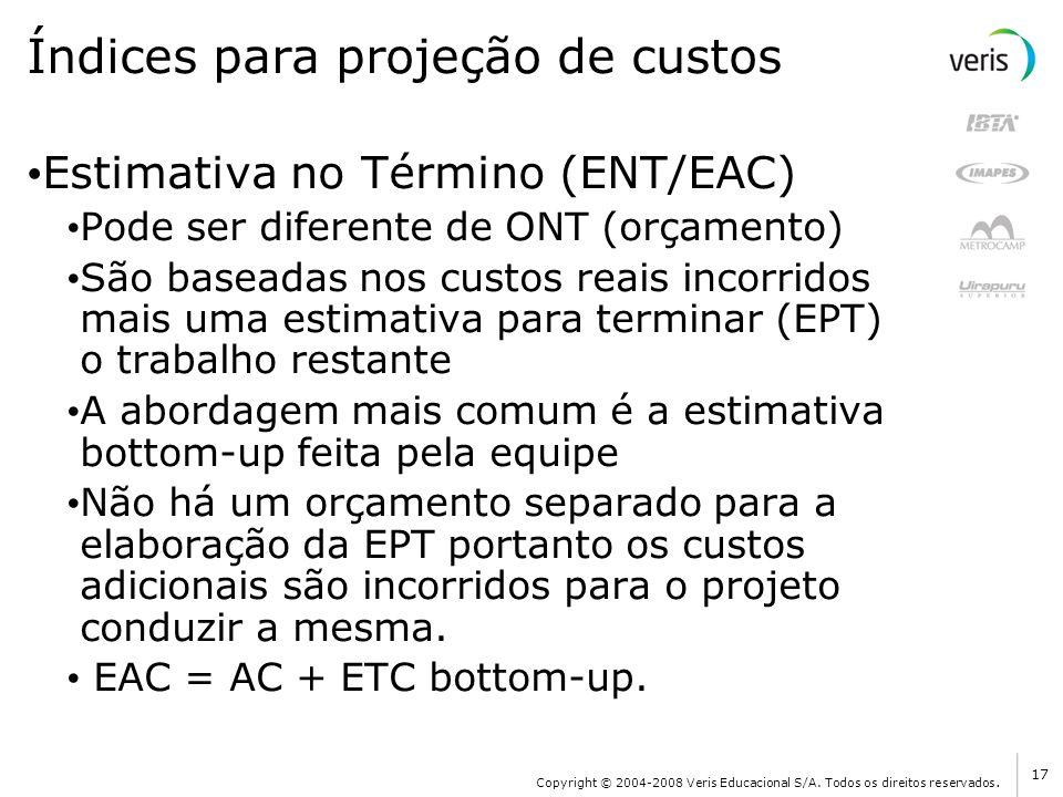 Índices para projeção de custos Estimativa no Término (ENT/EAC) Pode ser diferente de ONT (orçamento) São baseadas nos custos reais incorridos mais um