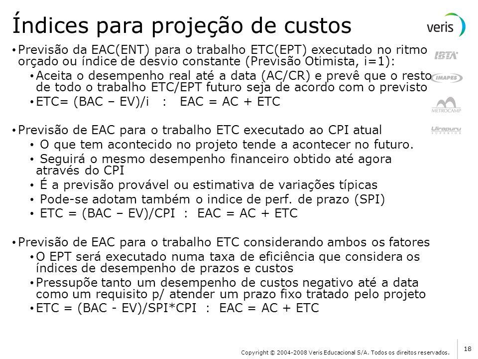 Índices para projeção de custos Previsão da EAC(ENT) para o trabalho ETC(EPT) executado no ritmo orçado ou índice de desvio constante (Previsão Otimis