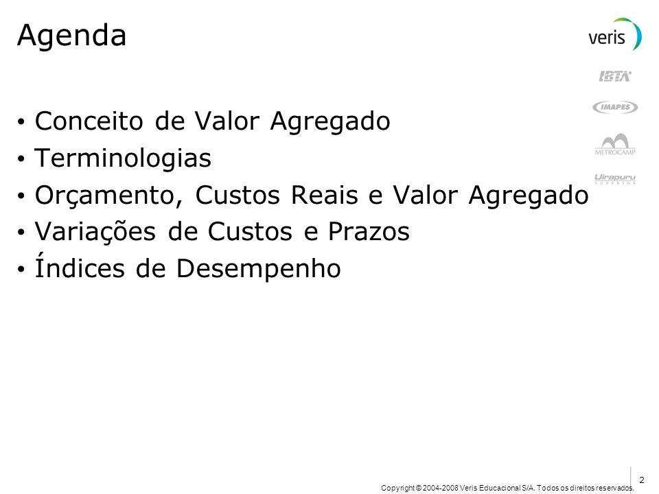 Copyright © 2004-2008 Veris Educacional S/A. Todos os direitos reservados. Agenda Conceito de Valor Agregado Terminologias Orçamento, Custos Reais e V