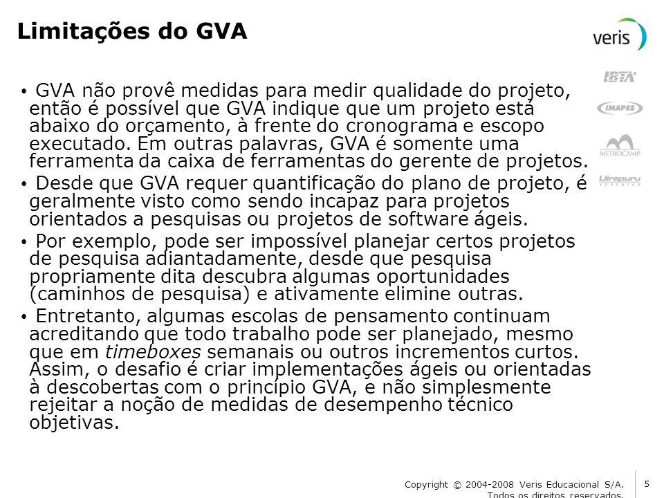 Limitações do GVA GVA não provê medidas para medir qualidade do projeto, então é possível que GVA indique que um projeto está abaixo do orçamento, à f