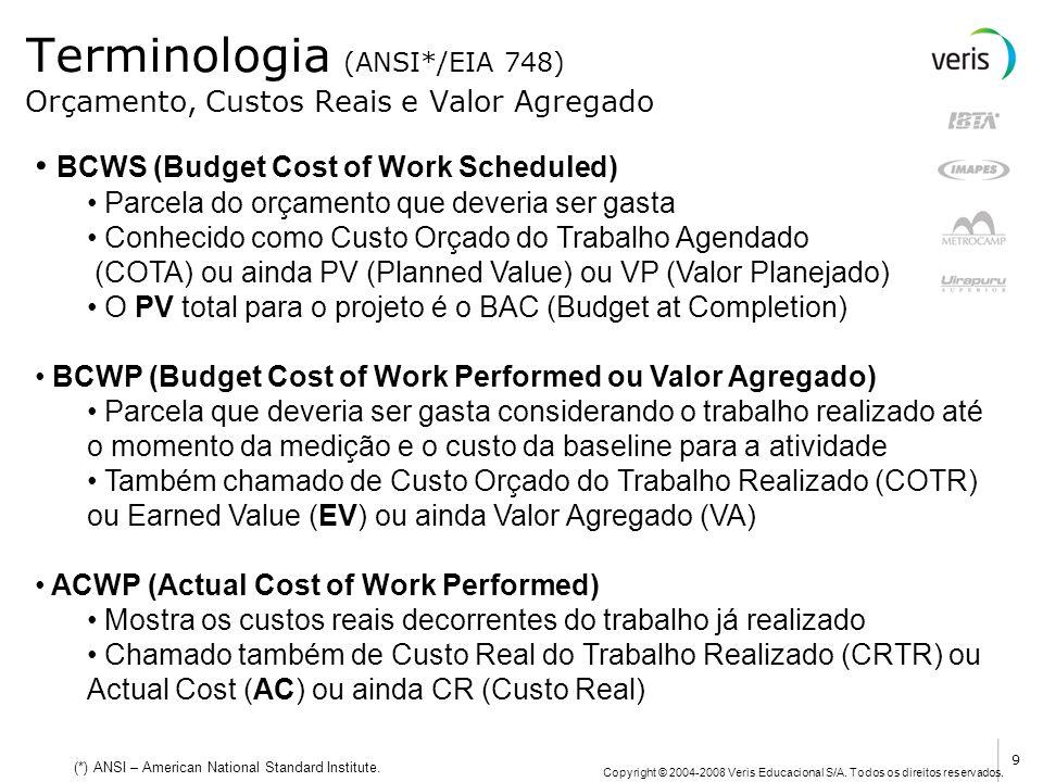 Copyright © 2004-2008 Veris Educacional S/A. Todos os direitos reservados. Terminologia (ANSI*/EIA 748) BCWS (Budget Cost of Work Scheduled) Parcela d