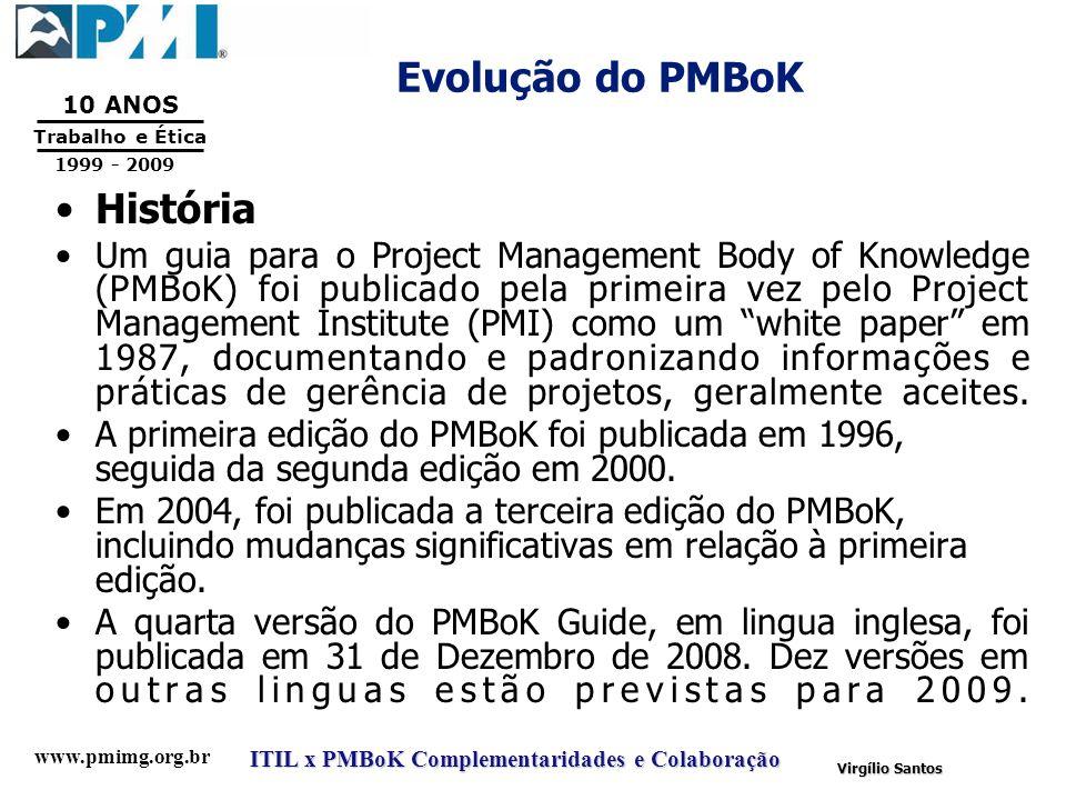 www.pmimg.org.br Trabalho e Ética 10 ANOS 1999 - 2009 ITIL x PMBoK Complementaridades e Colaboração Virgílio Santos Evolução do PMBoK História Um guia