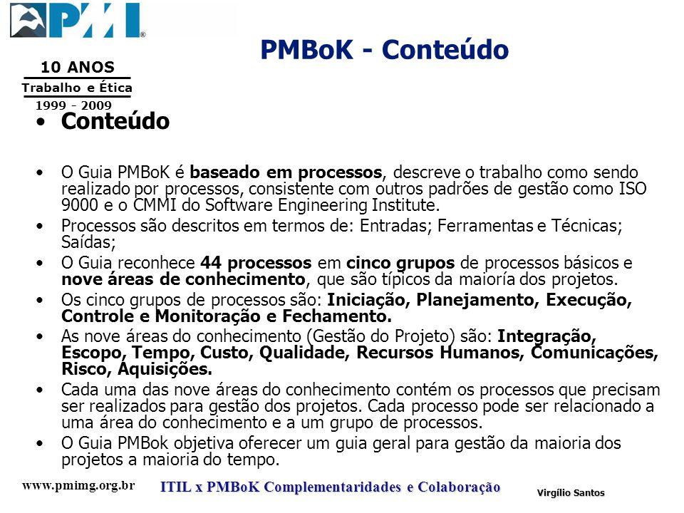 www.pmimg.org.br Trabalho e Ética 10 ANOS 1999 - 2009 ITIL x PMBoK Complementaridades e Colaboração Virgílio Santos PMBoK - Conteúdo Conteúdo O Guia P