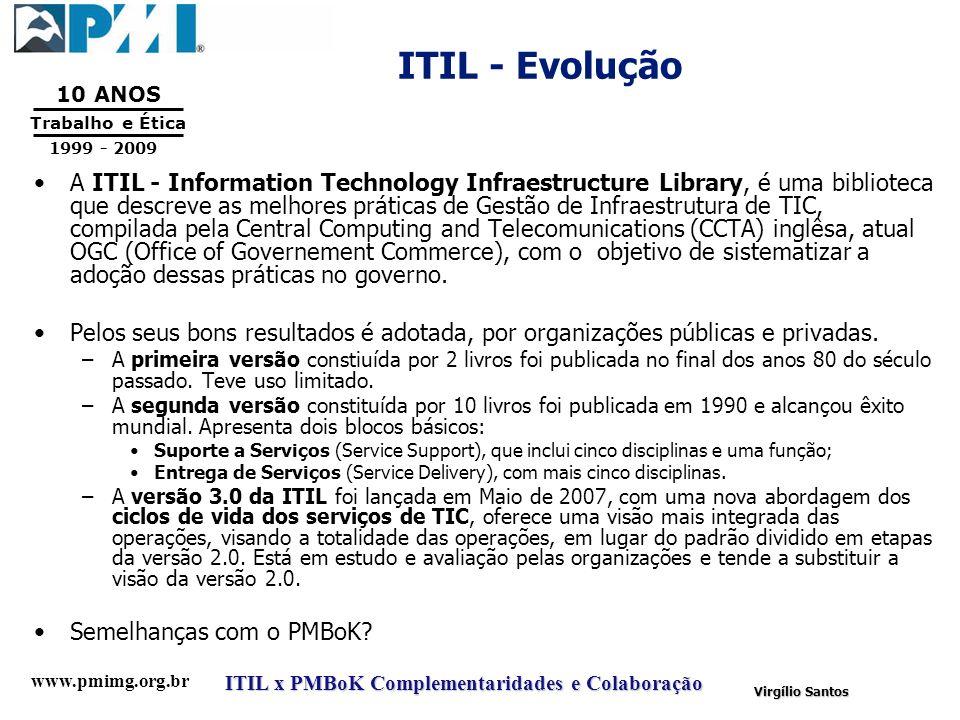 www.pmimg.org.br Trabalho e Ética 10 ANOS 1999 - 2009 ITIL x PMBoK Complementaridades e Colaboração Virgílio Santos ITIL - Evolução A ITIL - Informati