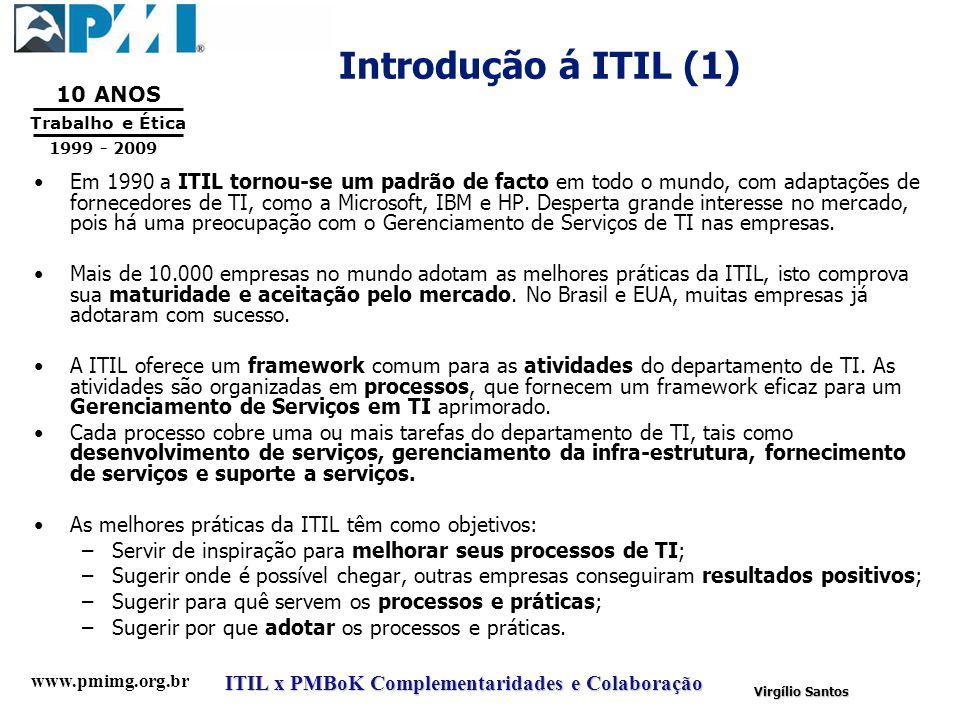 www.pmimg.org.br Trabalho e Ética 10 ANOS 1999 - 2009 ITIL x PMBoK Complementaridades e Colaboração Virgílio Santos Introdução á ITIL (1) Em 1990 a IT