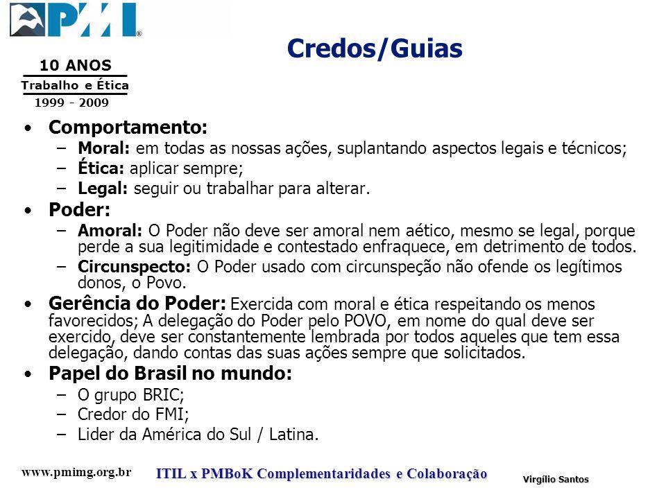 www.pmimg.org.br Trabalho e Ética 10 ANOS 1999 - 2009 ITIL x PMBoK Complementaridades e Colaboração Virgílio Santos Credos/Guias Comportamento: –Moral