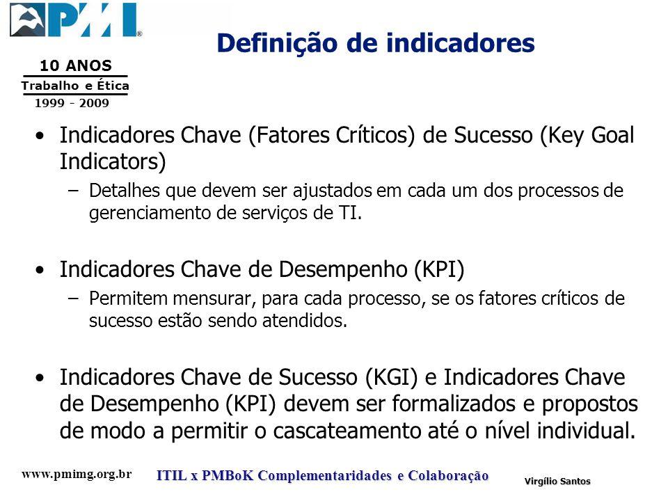 www.pmimg.org.br Trabalho e Ética 10 ANOS 1999 - 2009 ITIL x PMBoK Complementaridades e Colaboração Virgílio Santos Definição de indicadores Indicador