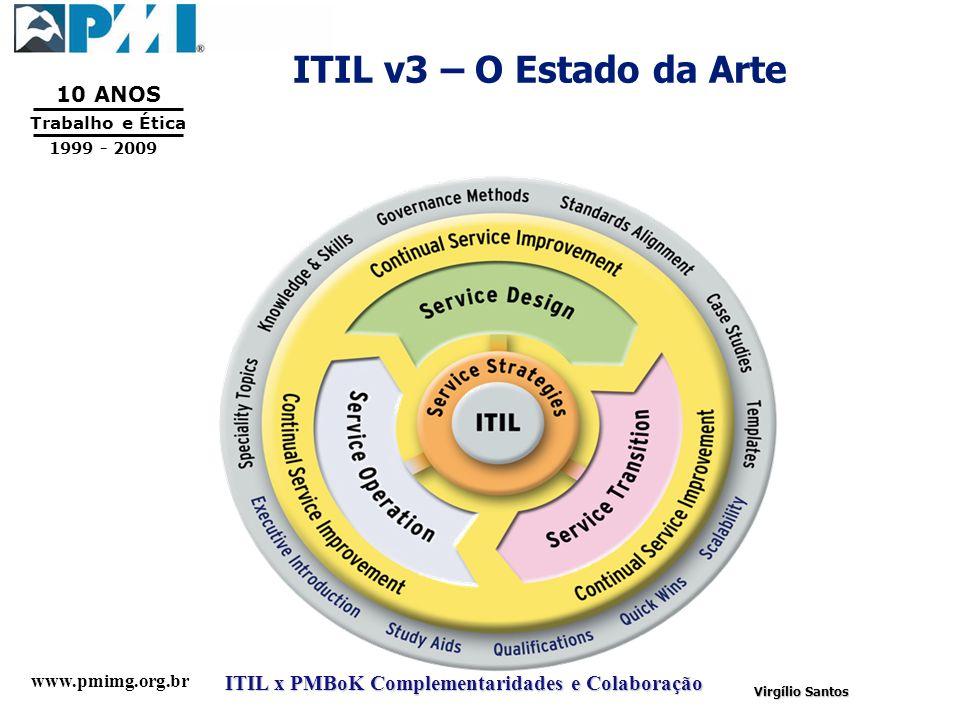 www.pmimg.org.br Trabalho e Ética 10 ANOS 1999 - 2009 ITIL x PMBoK Complementaridades e Colaboração Virgílio Santos ITIL v3 – O Estado da Arte