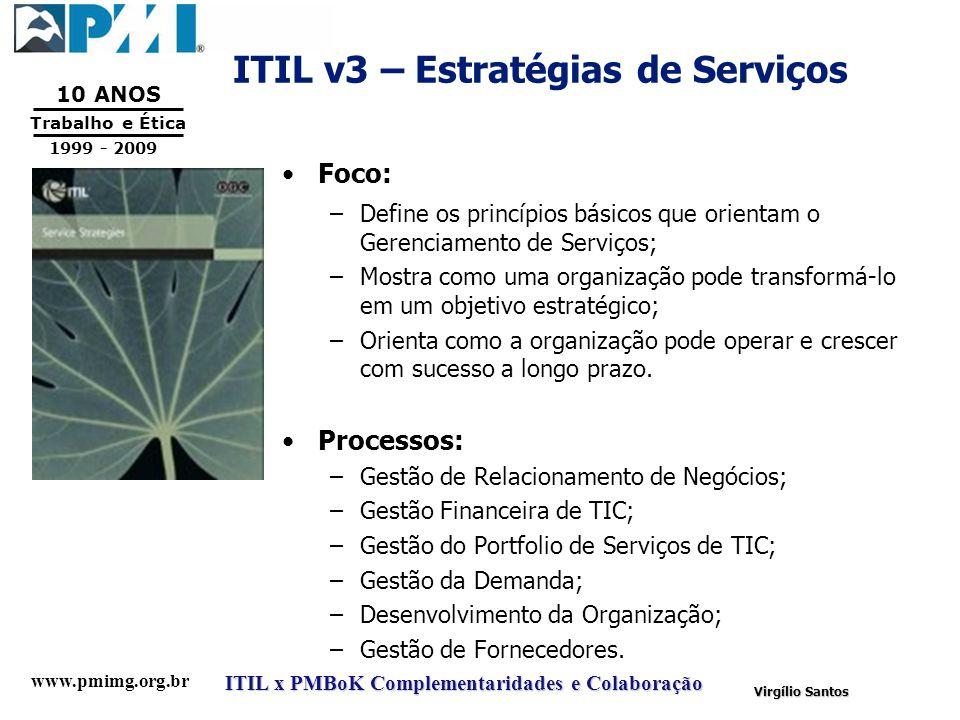 www.pmimg.org.br Trabalho e Ética 10 ANOS 1999 - 2009 ITIL x PMBoK Complementaridades e Colaboração Virgílio Santos ITIL v3 – Estratégias de Serviços