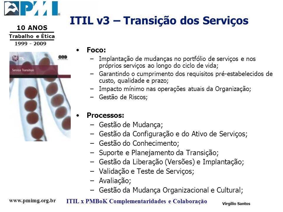 www.pmimg.org.br Trabalho e Ética 10 ANOS 1999 - 2009 ITIL x PMBoK Complementaridades e Colaboração Virgílio Santos ITIL v3 – Transição dos Serviços F