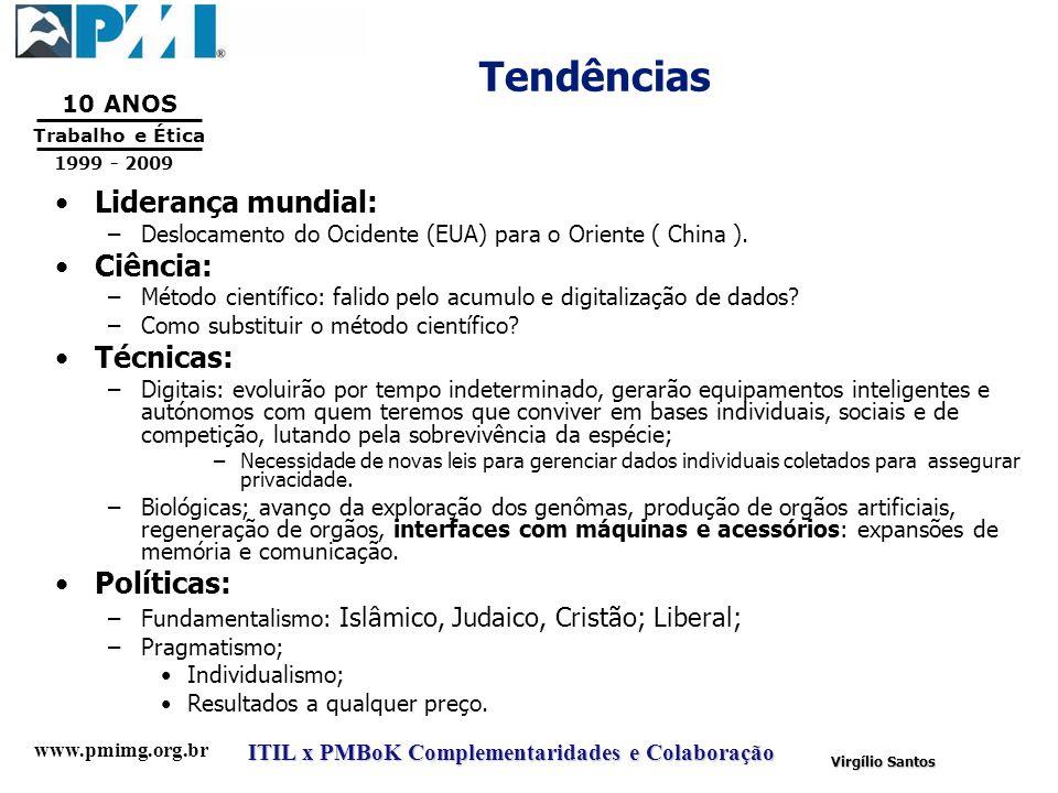 www.pmimg.org.br Trabalho e Ética 10 ANOS 1999 - 2009 ITIL x PMBoK Complementaridades e Colaboração Virgílio Santos Tendências Liderança mundial: –Des