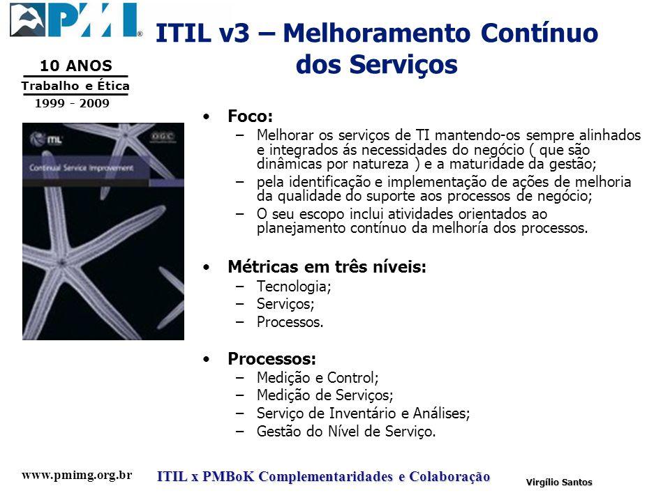 www.pmimg.org.br Trabalho e Ética 10 ANOS 1999 - 2009 ITIL x PMBoK Complementaridades e Colaboração Virgílio Santos ITIL v3 – Melhoramento Contínuo do