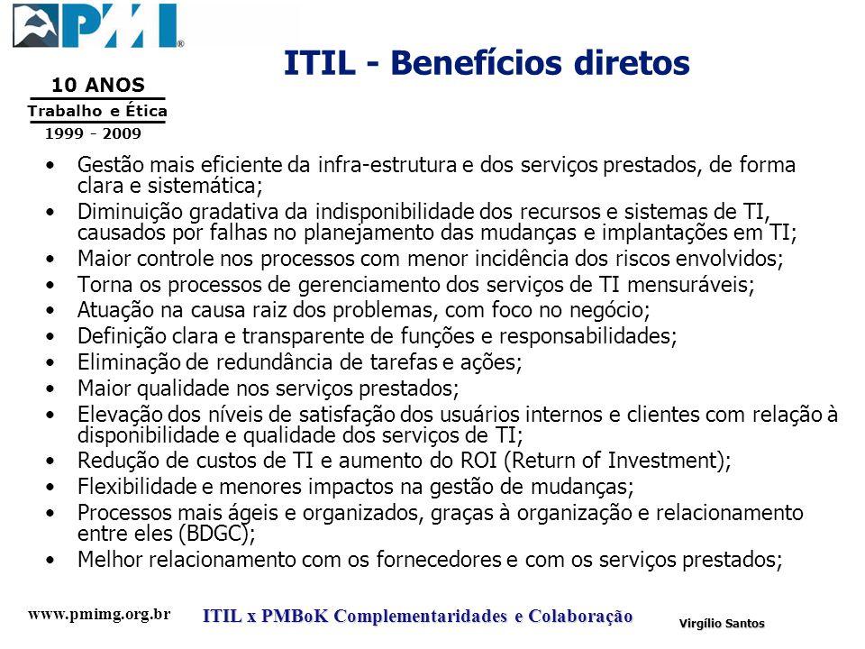 www.pmimg.org.br Trabalho e Ética 10 ANOS 1999 - 2009 ITIL x PMBoK Complementaridades e Colaboração Virgílio Santos ITIL - Benefícios diretos Gestão m