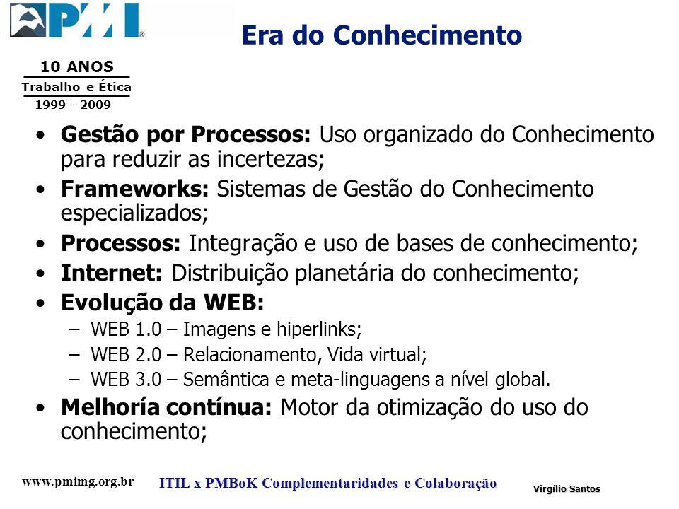 www.pmimg.org.br Trabalho e Ética 10 ANOS 1999 - 2009 ITIL x PMBoK Complementaridades e Colaboração Virgílio Santos Era do Conhecimento Gestão por Pro