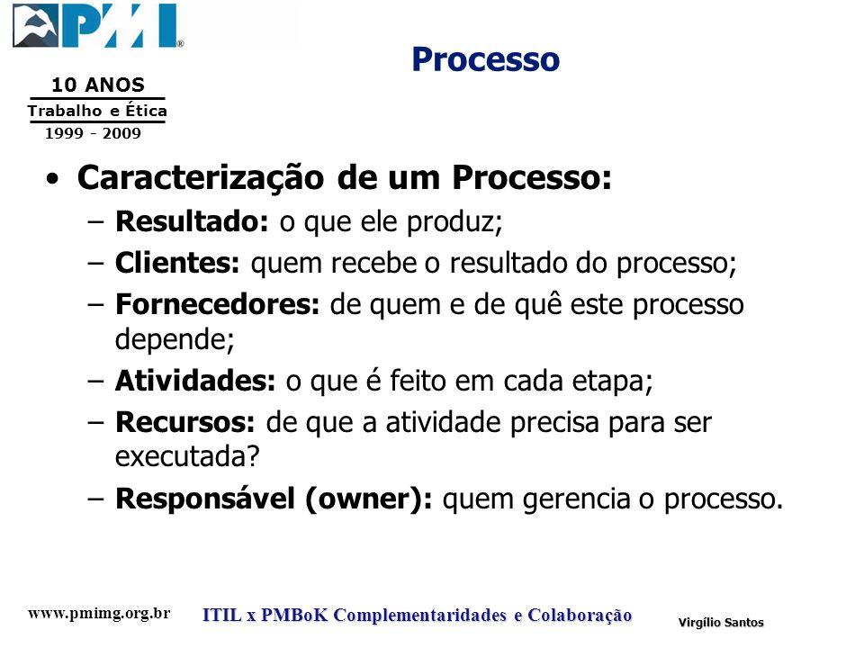 www.pmimg.org.br Trabalho e Ética 10 ANOS 1999 - 2009 ITIL x PMBoK Complementaridades e Colaboração Virgílio Santos Processo Caracterização de um Proc