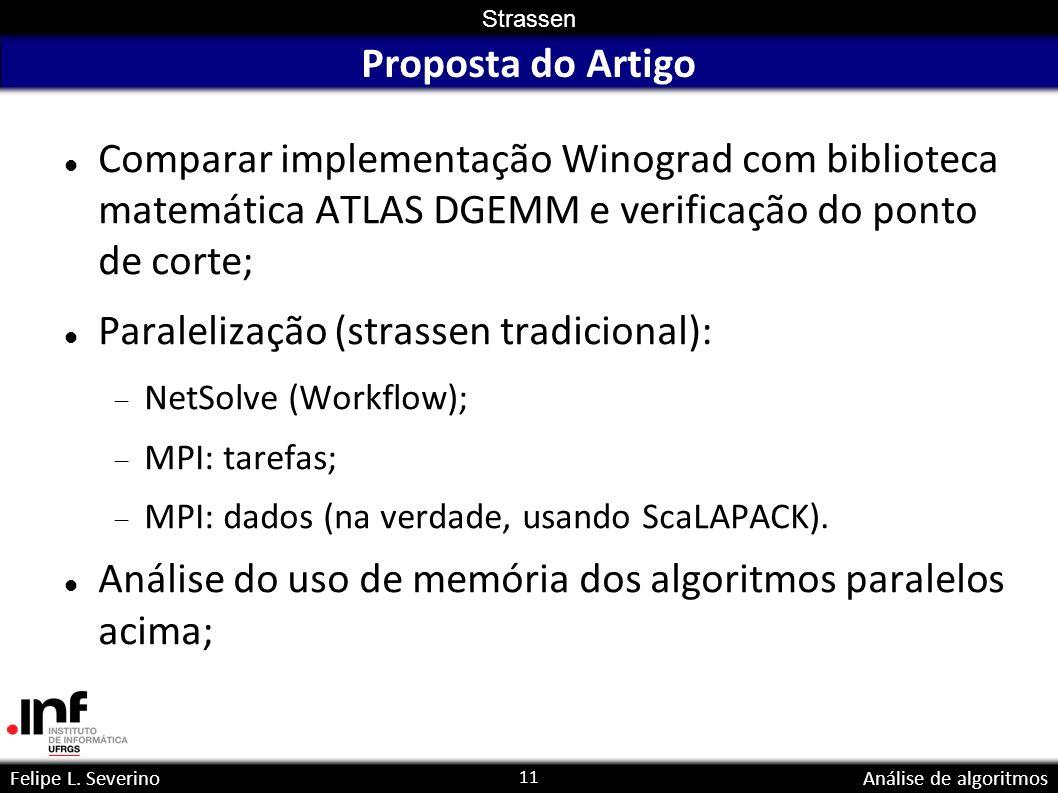 11 Strassen Felipe L. SeverinoAnálise de algoritmos Proposta do Artigo Comparar implementação Winograd com biblioteca matemática ATLAS DGEMM e verific