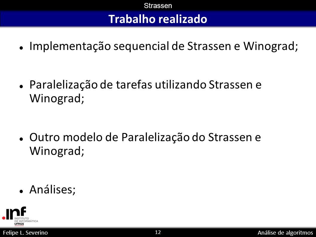 12 Strassen Felipe L. SeverinoAnálise de algoritmos Trabalho realizado Implementação sequencial de Strassen e Winograd; Paralelização de tarefas utili