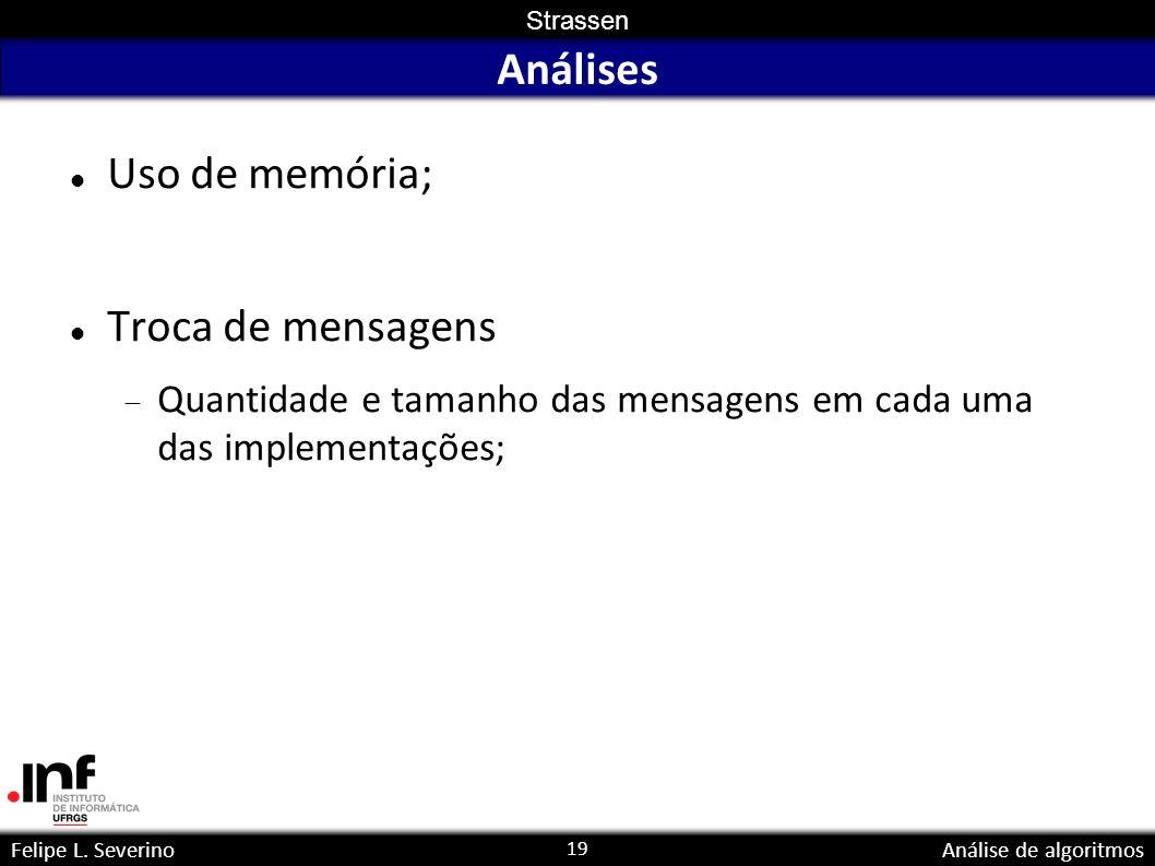 19 Strassen Felipe L. SeverinoAnálise de algoritmos Análises Uso de memória; Troca de mensagens Quantidade e tamanho das mensagens em cada uma das imp