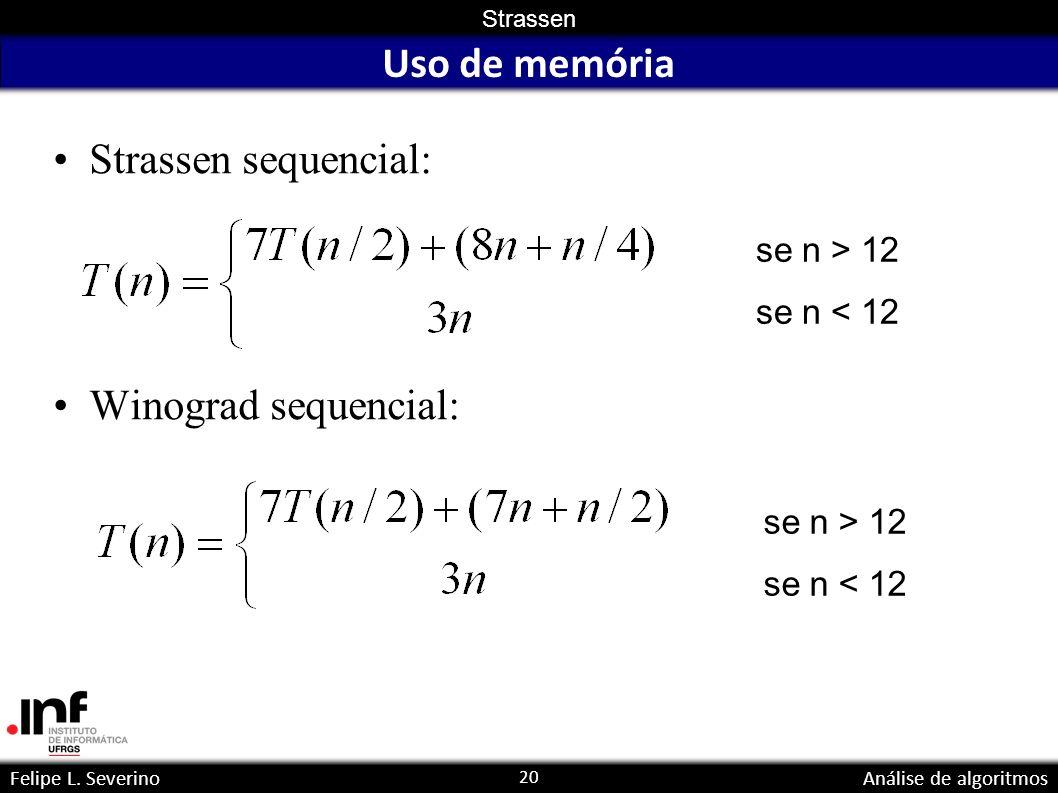 20 Strassen Felipe L. SeverinoAnálise de algoritmos Uso de memória Strassen sequencial: Winograd sequencial: se n > 12 se n < 12 se n > 12 se n < 12