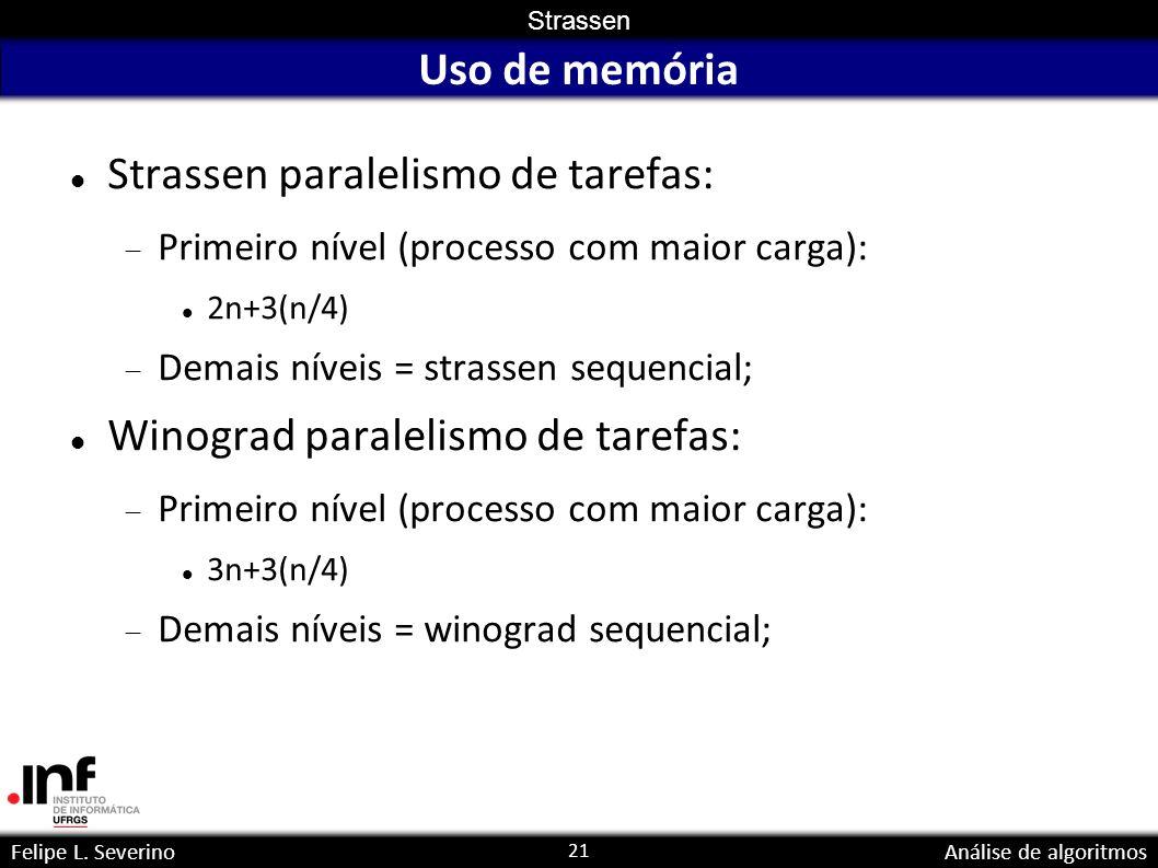 21 Strassen Felipe L. SeverinoAnálise de algoritmos Uso de memória Strassen paralelismo de tarefas: Primeiro nível (processo com maior carga): 2n+3(n/