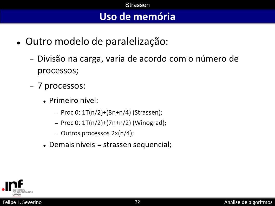 22 Strassen Felipe L. SeverinoAnálise de algoritmos Uso de memória Outro modelo de paralelização: Divisão na carga, varia de acordo com o número de pr