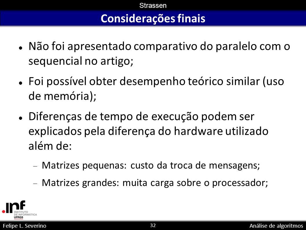 32 Strassen Felipe L. SeverinoAnálise de algoritmos Considerações finais Não foi apresentado comparativo do paralelo com o sequencial no artigo; Foi p