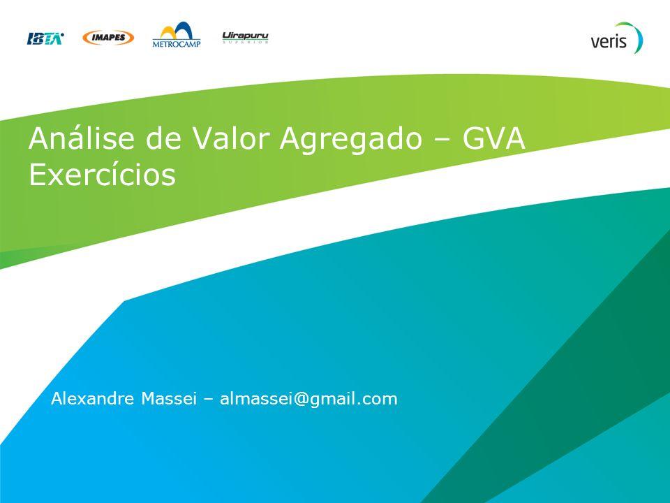 Análise de Valor Agregado – GVA Exercícios Alexandre Massei – almassei@gmail.com