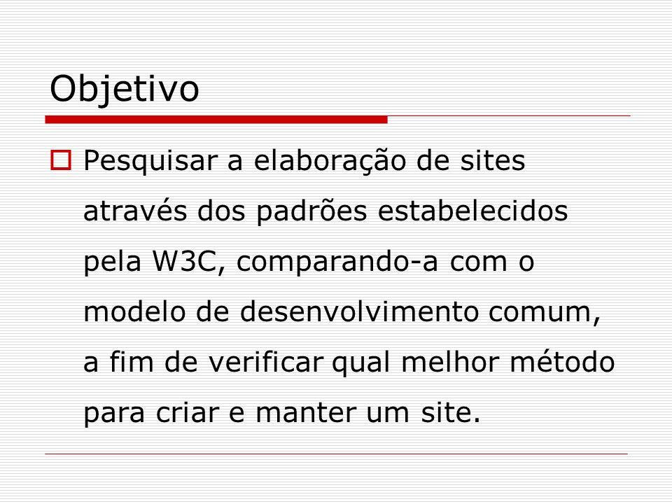 Objetivo Pesquisar a elaboração de sites através dos padrões estabelecidos pela W3C, comparando-a com o modelo de desenvolvimento comum, a fim de veri