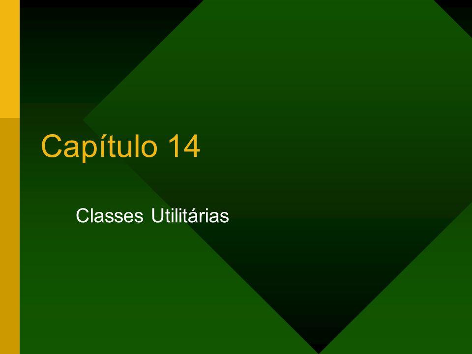 12Capítulo 14 – Classes Utilitárias Método replaceAll() Retorna um novo String igual ao original contendo trechos substituídos.