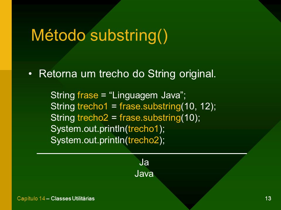 13Capítulo 14 – Classes Utilitárias Método substring() Retorna um trecho do String original. String frase = Linguagem Java; String trecho1 = frase.sub