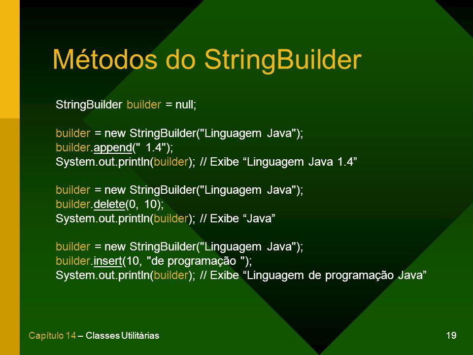 19Capítulo 14 – Classes Utilitárias Métodos do StringBuilder StringBuilder builder = null; builder = new StringBuilder( Linguagem Java ); builder.append( 1.4 ); System.out.println(builder); // Exibe Linguagem Java 1.4 builder = new StringBuilder( Linguagem Java ); builder.delete(0, 10); System.out.println(builder); // Exibe Java builder = new StringBuilder( Linguagem Java ); builder.insert(10, de programação ); System.out.println(builder); // Exibe Linguagem de programação Java