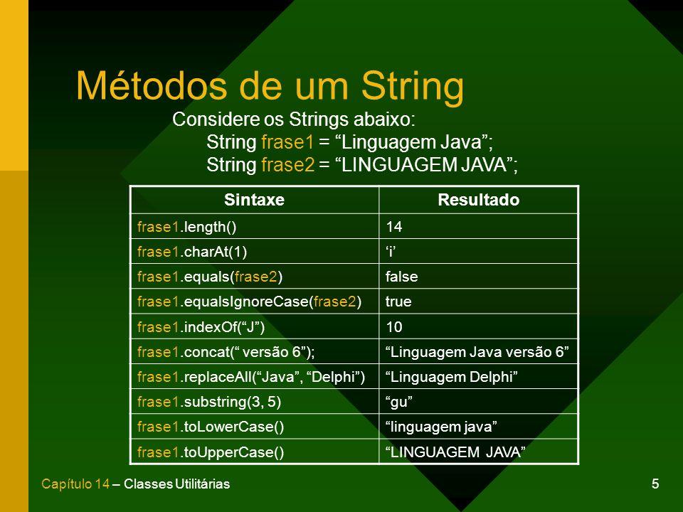 16Capítulo 14 – Classes Utilitárias Método trim() Retorna uma cópia do String original excluíndo todos os caracteres não imprimíveis (espaços, tabulações, quebras de linha, etc) ao início e ao fim do String.