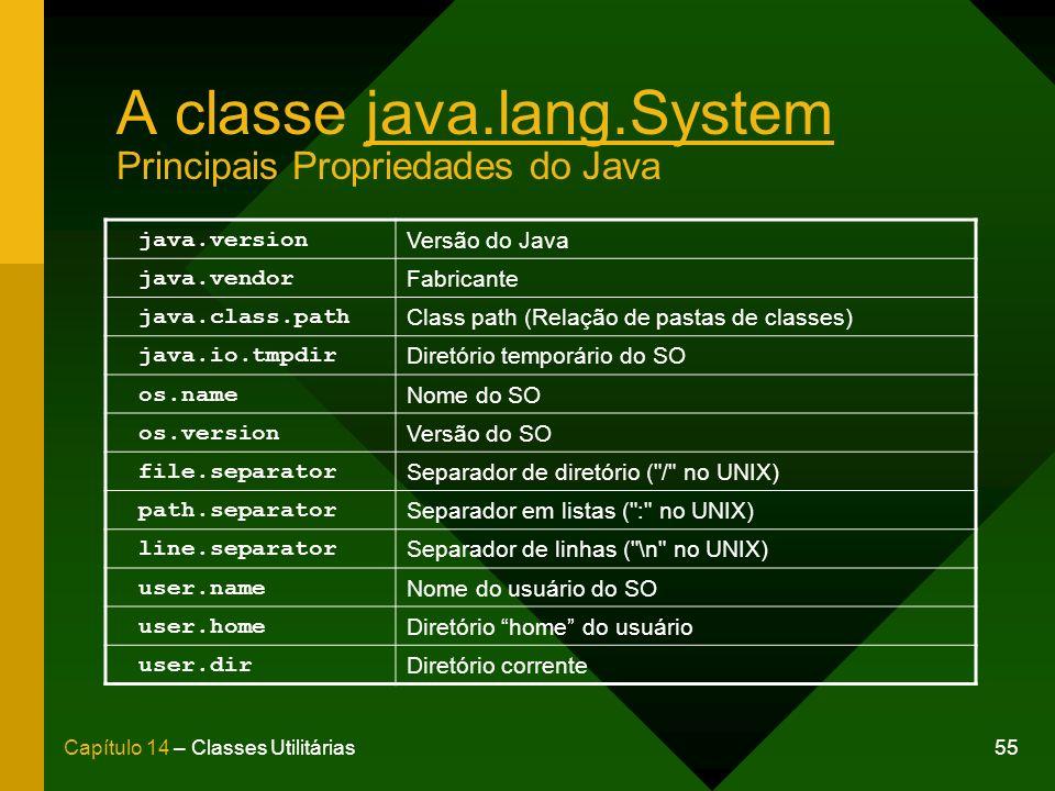 55Capítulo 14 – Classes Utilitárias A classe java.lang.System Principais Propriedades do Java java.version Versão do Java java.vendor Fabricante java.class.path Class path (Relação de pastas de classes) java.io.tmpdir Diretório temporário do SO os.name Nome do SO os.version Versão do SO file.separator Separador de diretório ( / no UNIX) path.separator Separador em listas ( : no UNIX) line.separator Separador de linhas ( \n no UNIX) user.name Nome do usuário do SO user.home Diretório home do usuário user.dir Diretório corrente