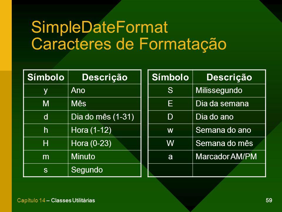 59Capítulo 14 – Classes Utilitárias SimpleDateFormat Caracteres de Formatação SímboloDescrição yAno MMês dDia do mês (1-31) hHora (1-12) HHora (0-23) mMinuto sSegundo SímboloDescrição SMilissegundo EDia da semana DDia do ano wSemana do ano WSemana do mês aMarcador AM/PM