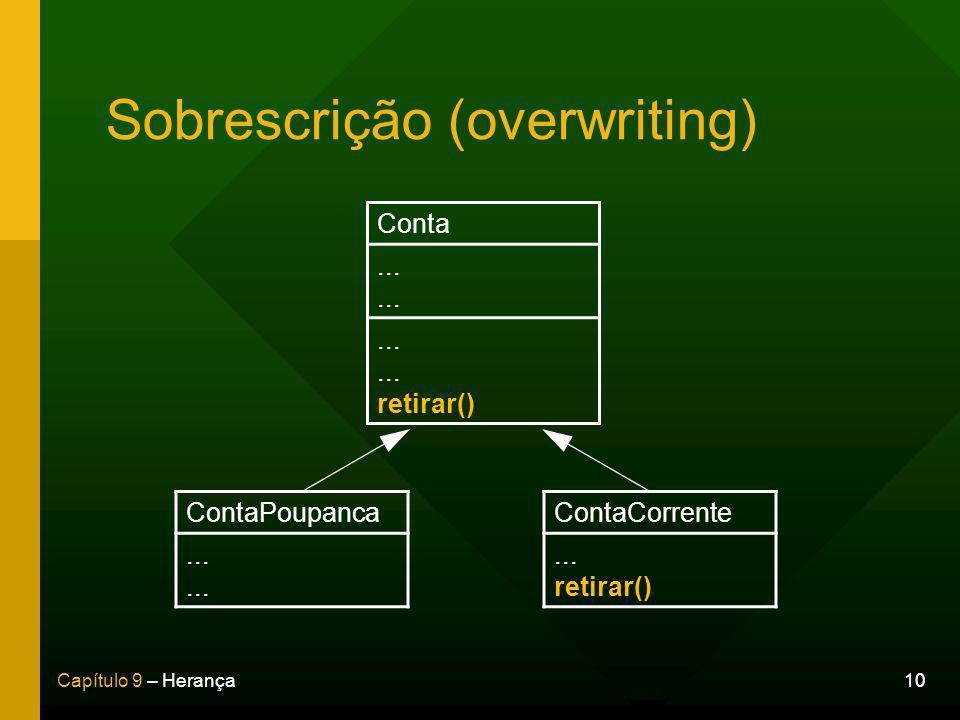 10Capítulo 9 – Herança Sobrescrição (overwriting) Conta.........