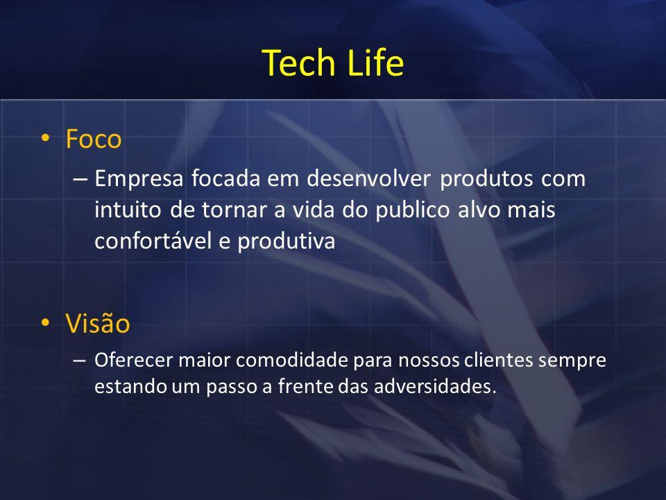 Tech Life Foco – Empresa focada em desenvolver produtos com intuito de tornar a vida do publico alvo mais confortável e produtiva Visão – Oferecer maior comodidade para nossos clientes sempre estando um passo a frente das adversidades.