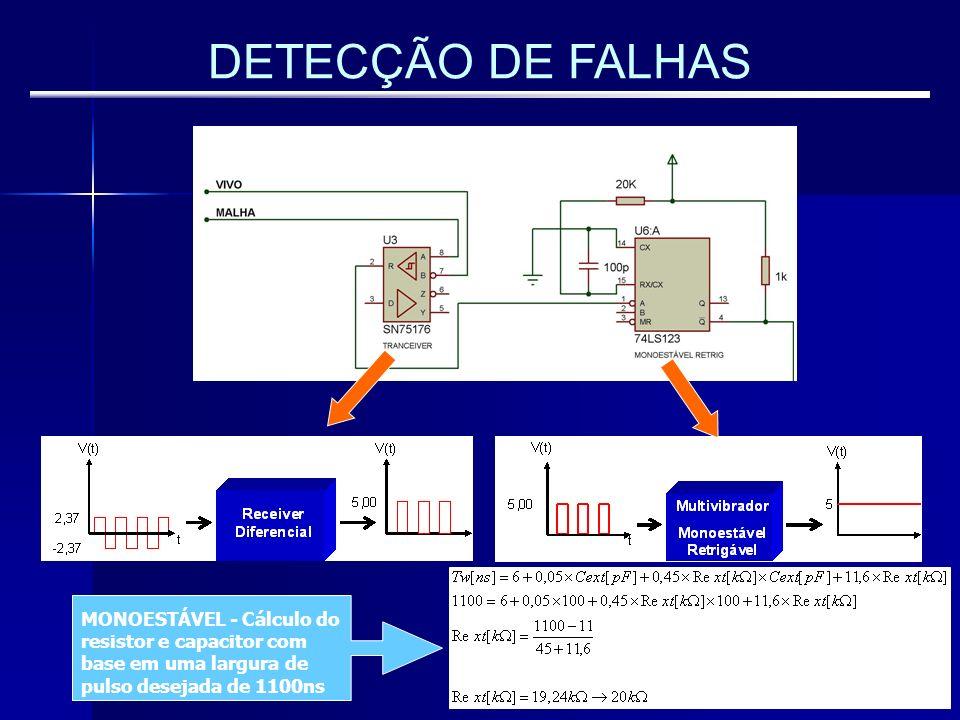 DETECÇÃO DE FALHAS MONOESTÁVEL - Cálculo do resistor e capacitor com base em uma largura de pulso desejada de 1100ns
