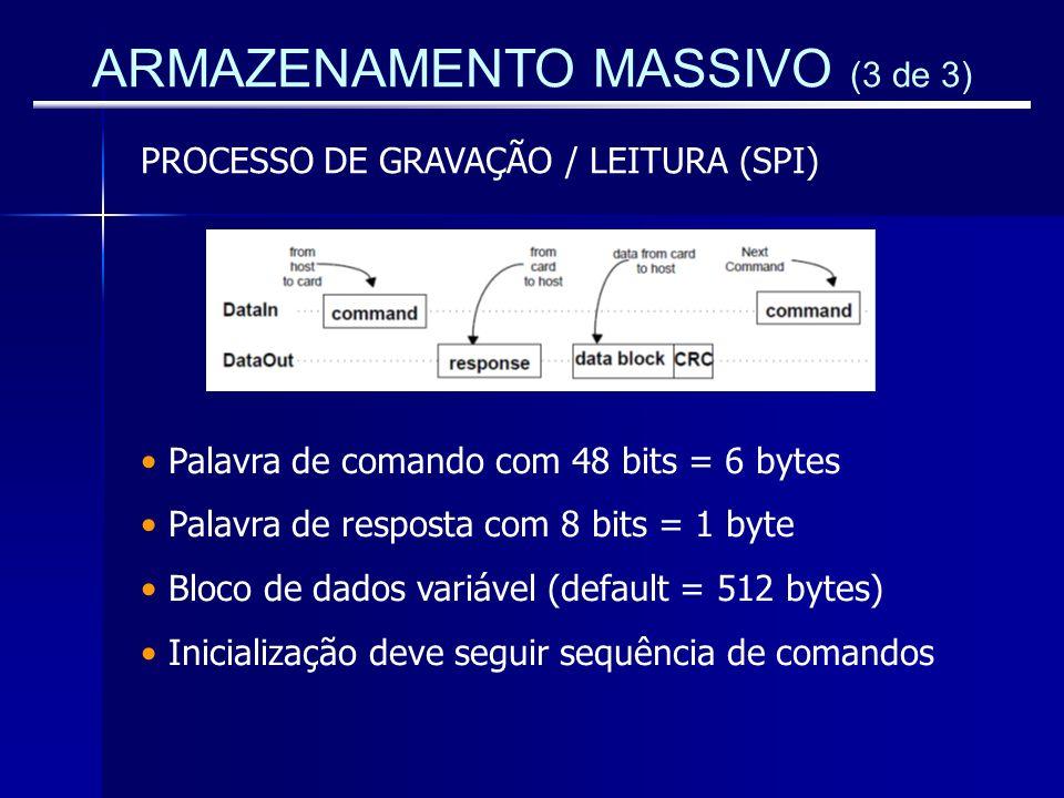 ARMAZENAMENTO MASSIVO (3 de 3) PROCESSO DE GRAVAÇÃO / LEITURA (SPI) Palavra de comando com 48 bits = 6 bytes Palavra de resposta com 8 bits = 1 byte B