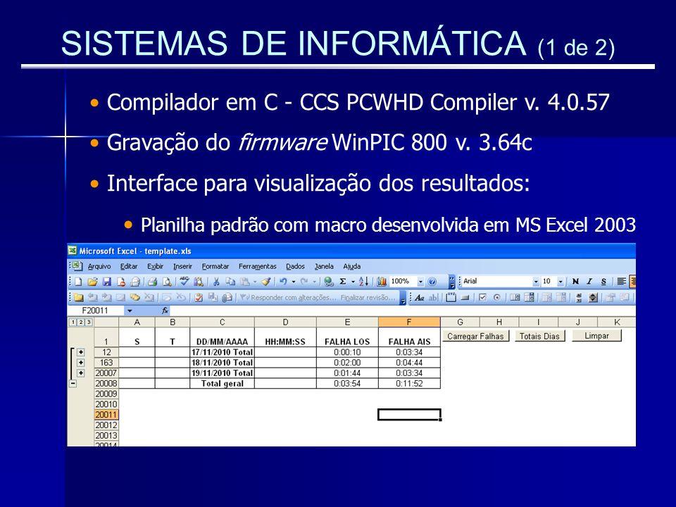 SISTEMAS DE INFORMÁTICA (1 de 2) Compilador em C - CCS PCWHD Compiler v. 4.0.57 Gravação do firmware WinPIC 800 v. 3.64c Interface para visualização d