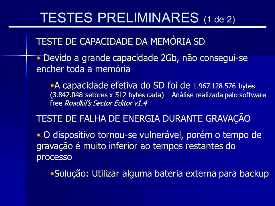 TESTES PRELIMINARES (1 de 2) TESTE DE CAPACIDADE DA MEMÓRIA SD Devido a grande capacidade 2Gb, não consegui-se encher toda a memória A capacidade efet