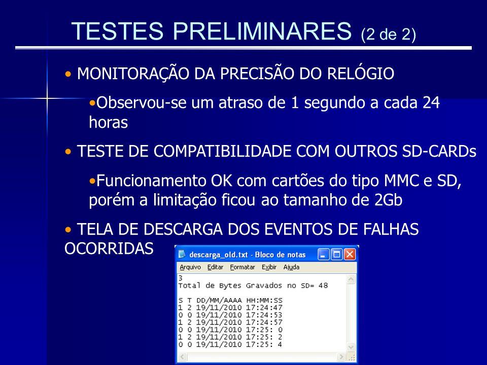 TESTES PRELIMINARES (2 de 2) MONITORAÇÃO DA PRECISÃO DO RELÓGIO Observou-se um atraso de 1 segundo a cada 24 horas TESTE DE COMPATIBILIDADE COM OUTROS