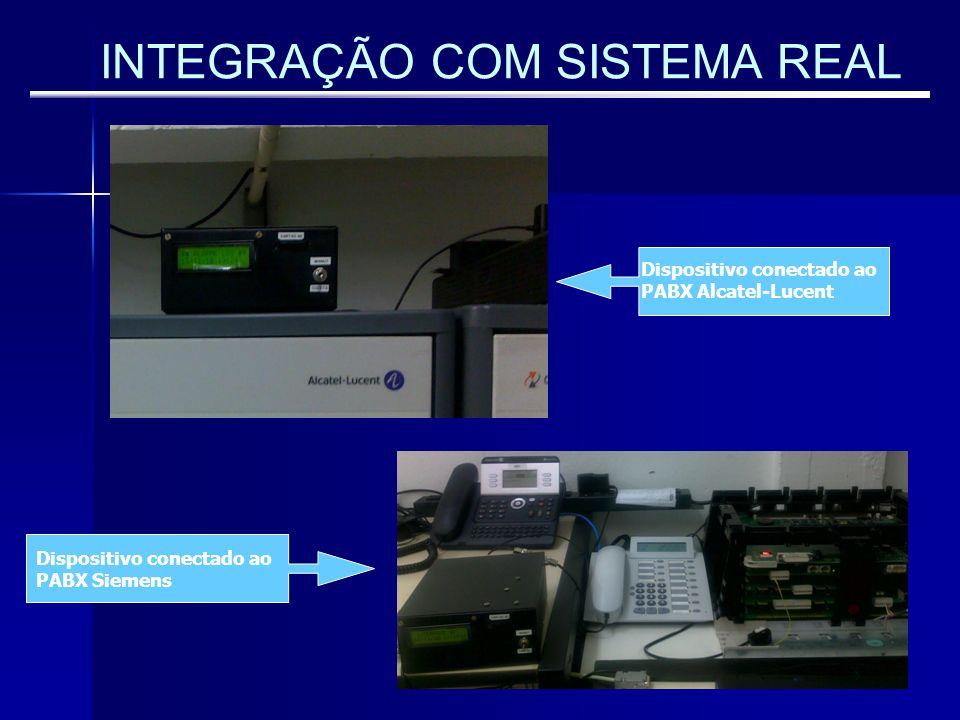 INTEGRAÇÃO COM SISTEMA REAL Dispositivo conectado ao PABX Alcatel-Lucent Dispositivo conectado ao PABX Siemens