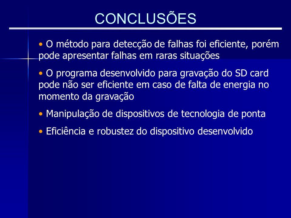 CONCLUSÕES O método para detecção de falhas foi eficiente, porém pode apresentar falhas em raras situações O programa desenvolvido para gravação do SD