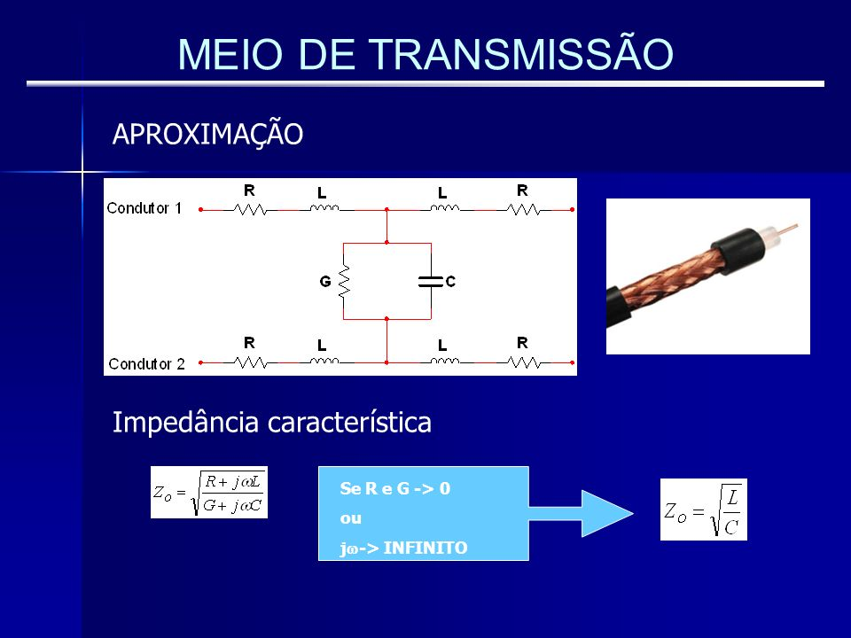 MEIO DE TRANSMISSÃO APROXIMAÇÃO Impedância característica Se R e G -> 0 ou j -> INFINITO