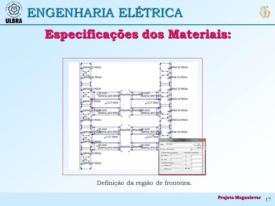 ENGENHARIA ELÉTRICA Definição da região de fronteira. Especificações dos Materiais: Especificações dos Materiais: Projeto Magnelever 17