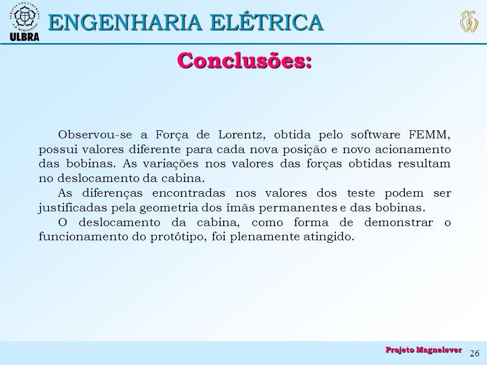 ENGENHARIA ELÉTRICA Conclusões: Conclusões: Observou-se a Força de Lorentz, obtida pelo software FEMM, possui valores diferente para cada nova posição