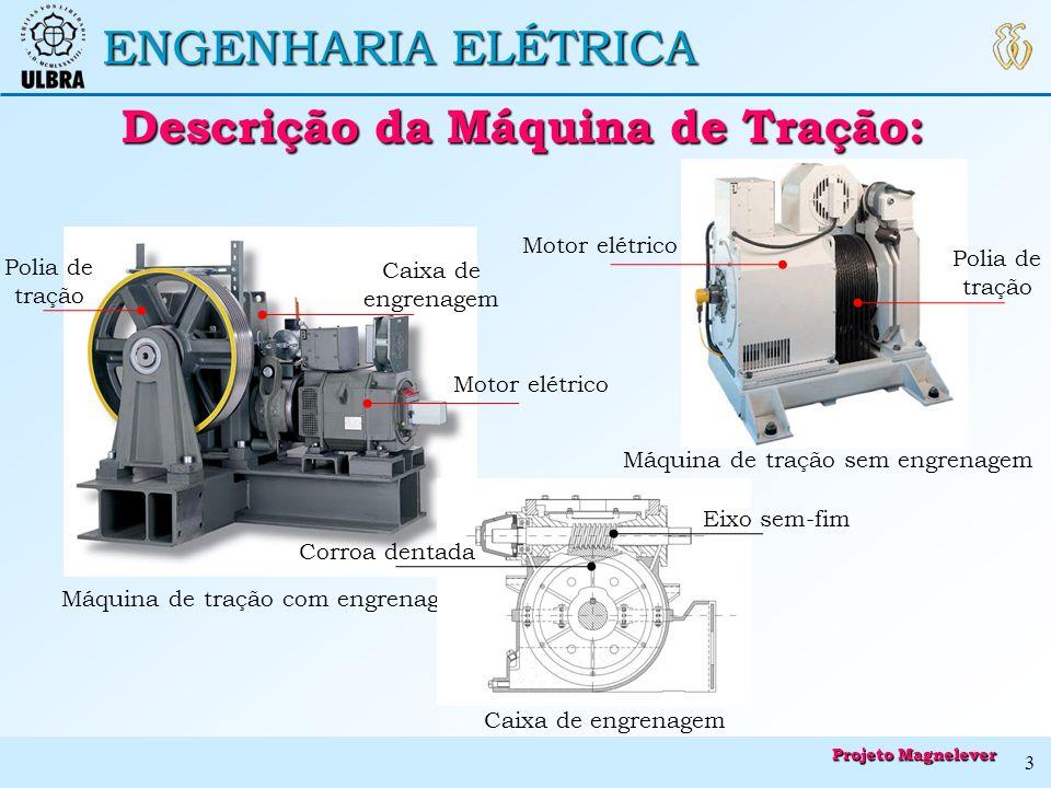 ENGENHARIA ELÉTRICA Descrição da Máquina de Tração: Descrição da Máquina de Tração: Motor elétrico Polia de tração Caixa de engrenagem Máquina de traç