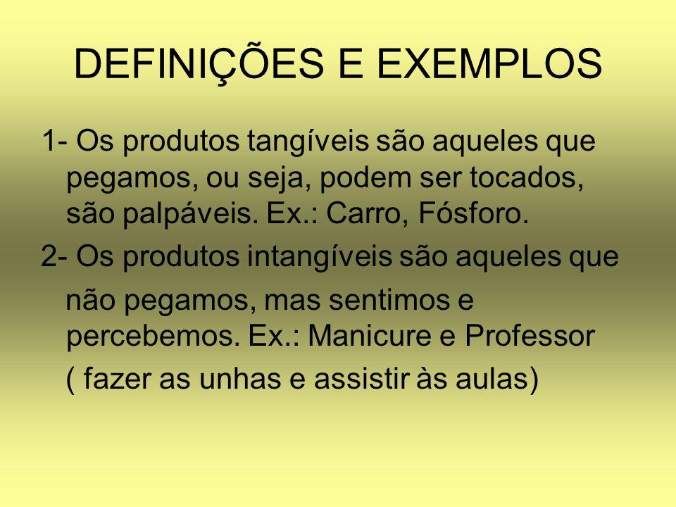 DEFINIÇÕES E EXEMPLOS 1- Os produtos tangíveis são aqueles que pegamos, ou seja, podem ser tocados, são palpáveis. Ex.: Carro, Fósforo. 2- Os produtos